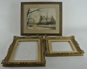 THREE PIECE LITHOGRAPH AND TWO FRAMES