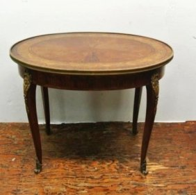 BH333 19THC MARQUETRY ORMOLU MOUNTED TABLE