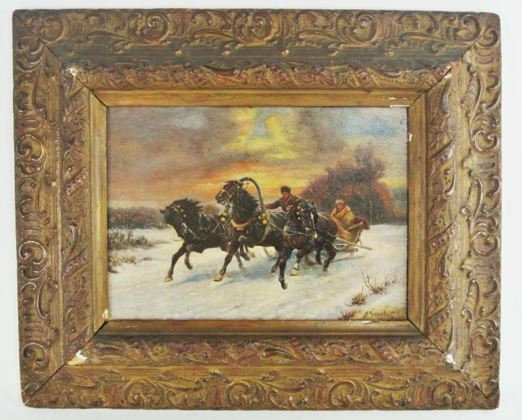 A45-48 SIGNED A. SHEL RUSSIAN TROIKA PAINTING