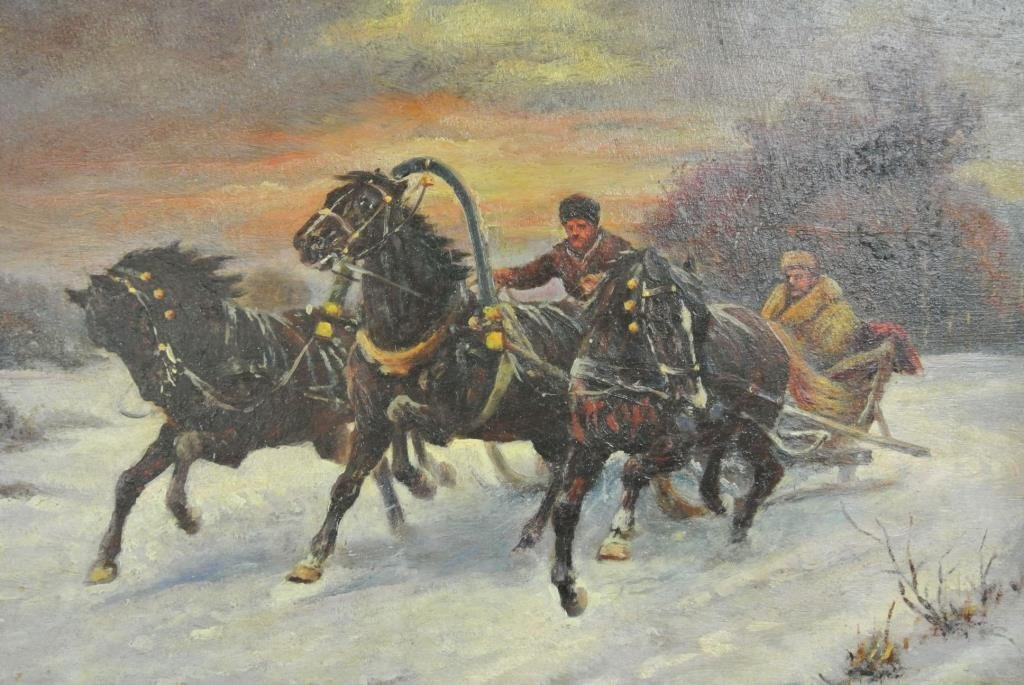A45-48 SIGNED A. SHEL RUSSIAN TROIKA PAINTING - 2