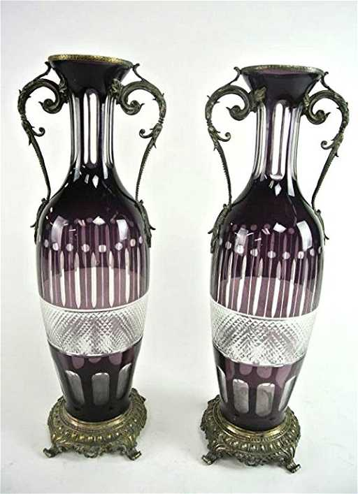 A14 2 Pair Of Large Cut Amethyst Vases