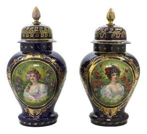 A44-13  PAIR OF ROYAL VIENNA COVERED URNS