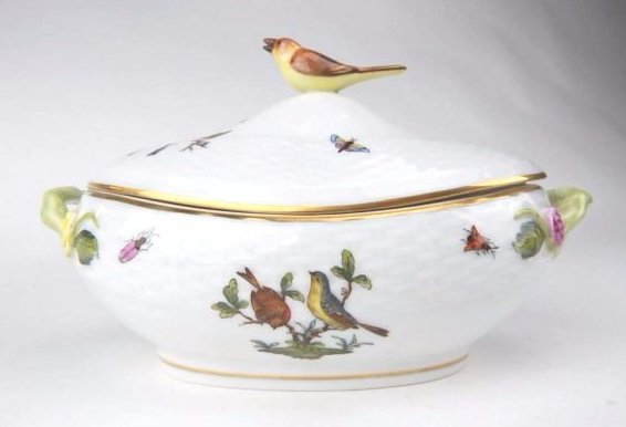 A1-5  HEREND HAND PAINTED COVERED DISH