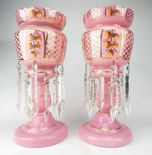 A1-9  PAIR OF PINK GLASS LUSTERS WITH PRISMS
