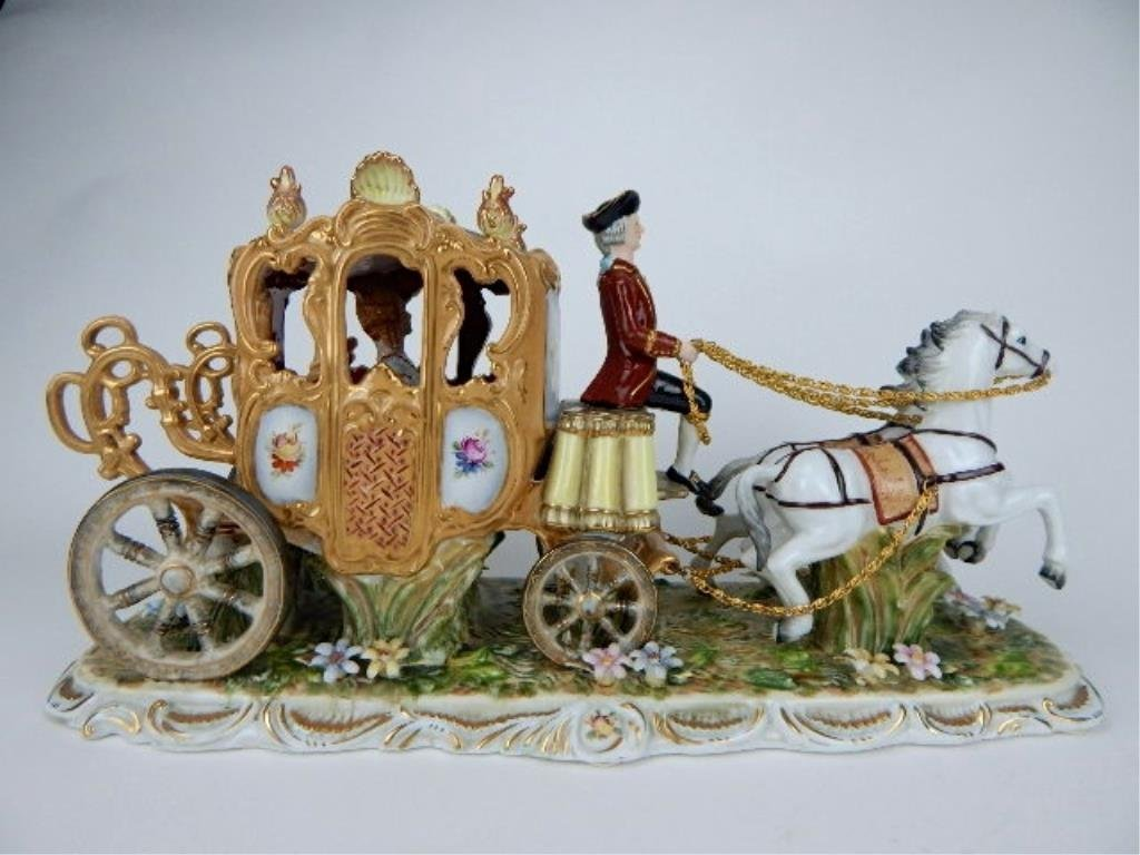 K13-69  DRESDEN PORCELAIN TWO HORSE W/ CARRIAGE