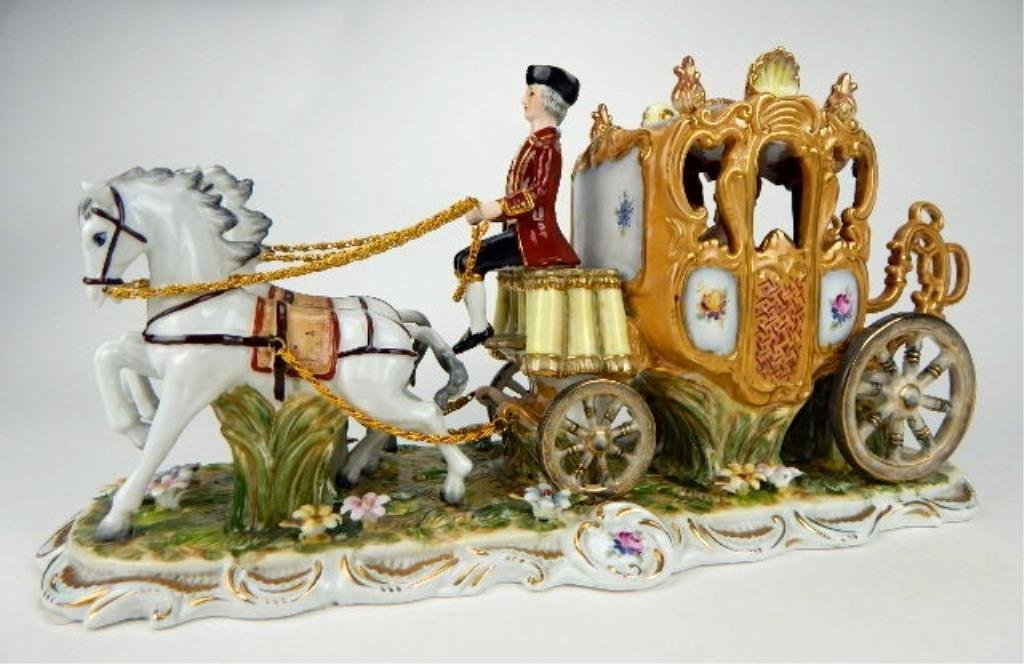 K13-69  DRESDEN PORCELAIN TWO HORSE W/ CARRIAGE - 2