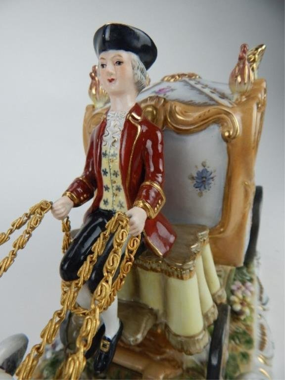 K13-69  DRESDEN PORCELAIN TWO HORSE W/ CARRIAGE - 4