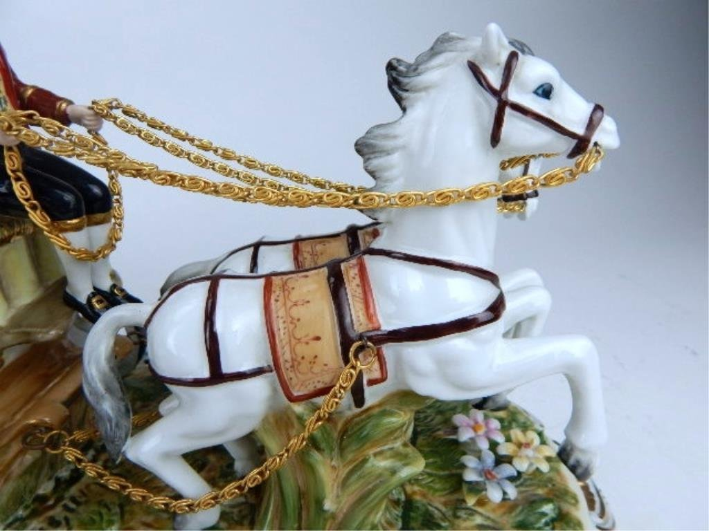 K13-69  DRESDEN PORCELAIN TWO HORSE W/ CARRIAGE - 5