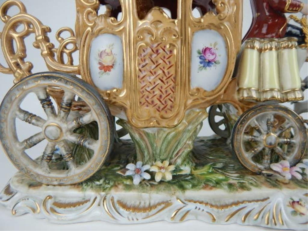 K13-69  DRESDEN PORCELAIN TWO HORSE W/ CARRIAGE - 6