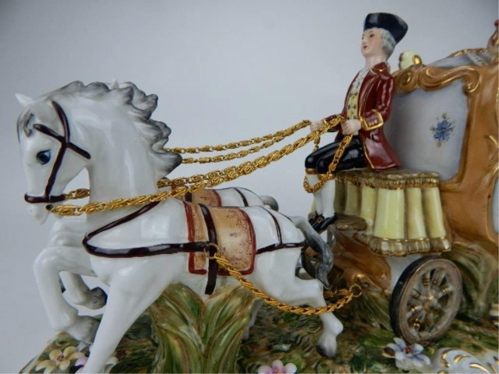 K13-69  DRESDEN PORCELAIN TWO HORSE W/ CARRIAGE - 7