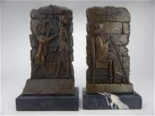 K13-68  PAIR OF BRONZE BOOKENDS ON MARBLE BASES
