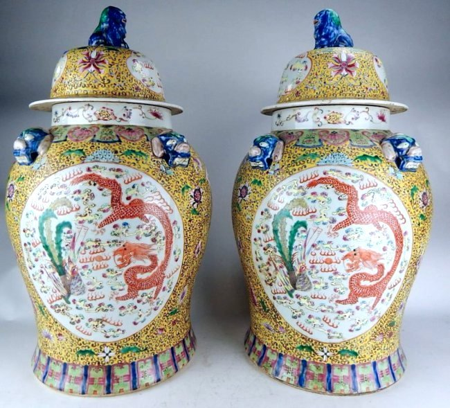 K13-154  PAIR OF CHINESE FAMILLE JAUNE PORCELAIN JARS