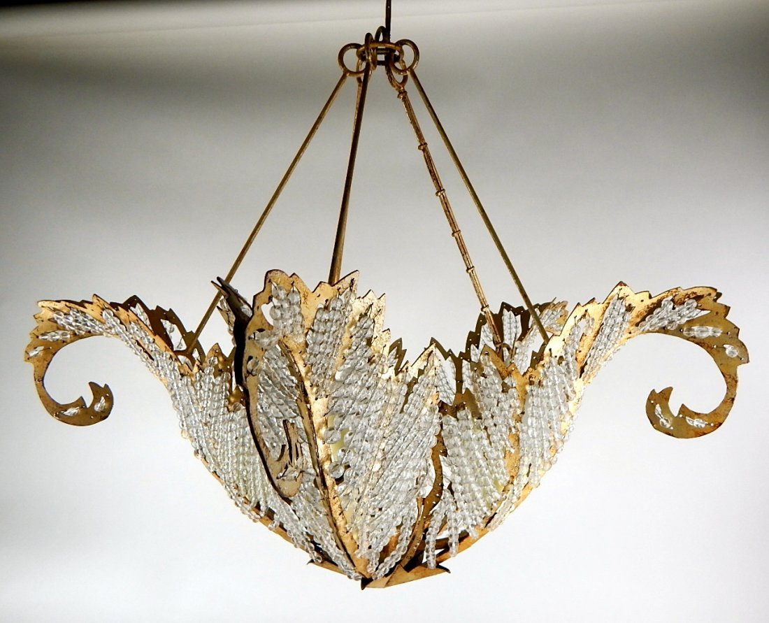 K53-10  GOLD METAL BEADED CHANDELIER