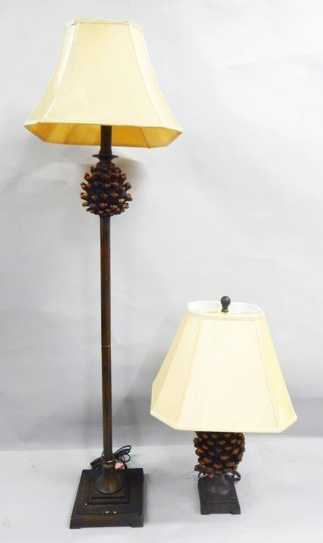 K53-19  TWO BRANDI RENEE DESIGN PINECONE LAMPS