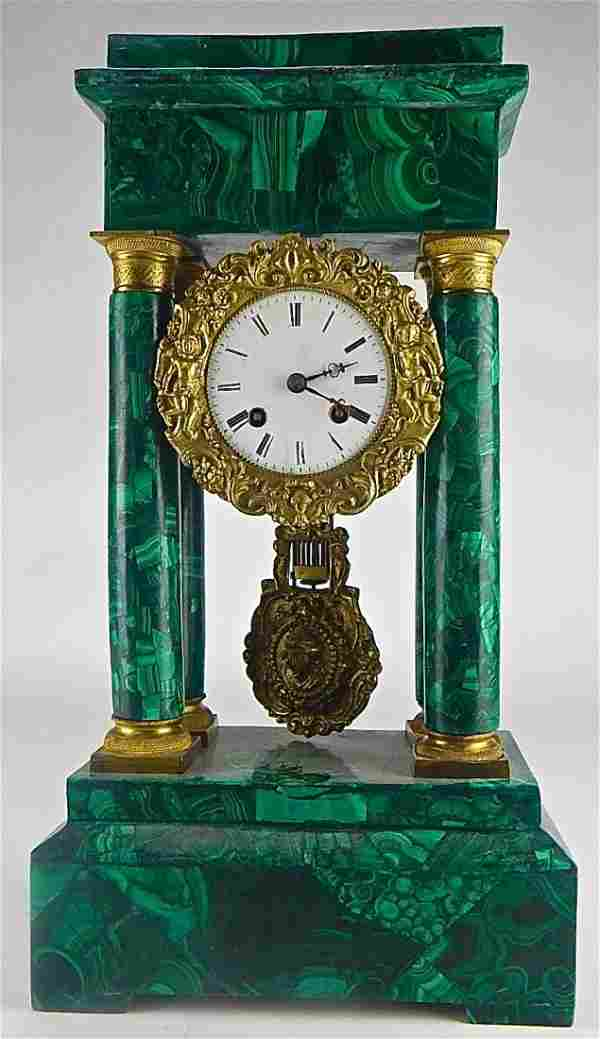 Gilt Bronze & Malachite over Wood Clock