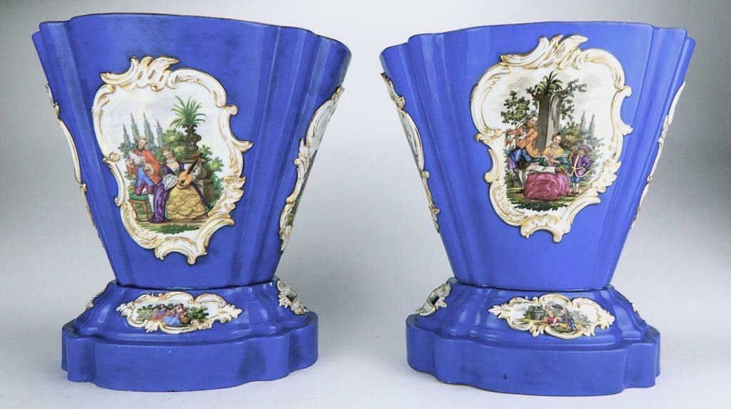 Pair of Meissen Cobalt Blue Porcelain Cache Pots