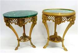 Two Malachite French Gilt Bronze Tables