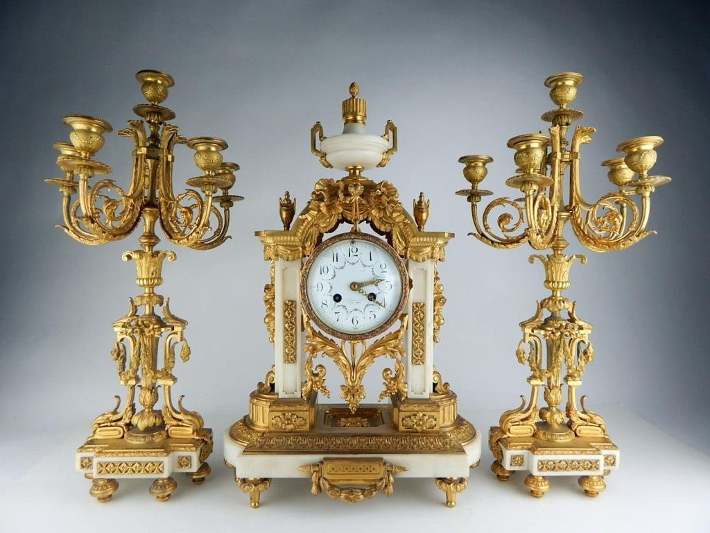 Fabulous French Dore Bronze on Marble Clock Set