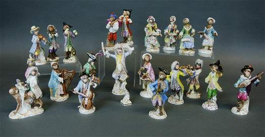 Complete Meissen Porcelain Monkey Band