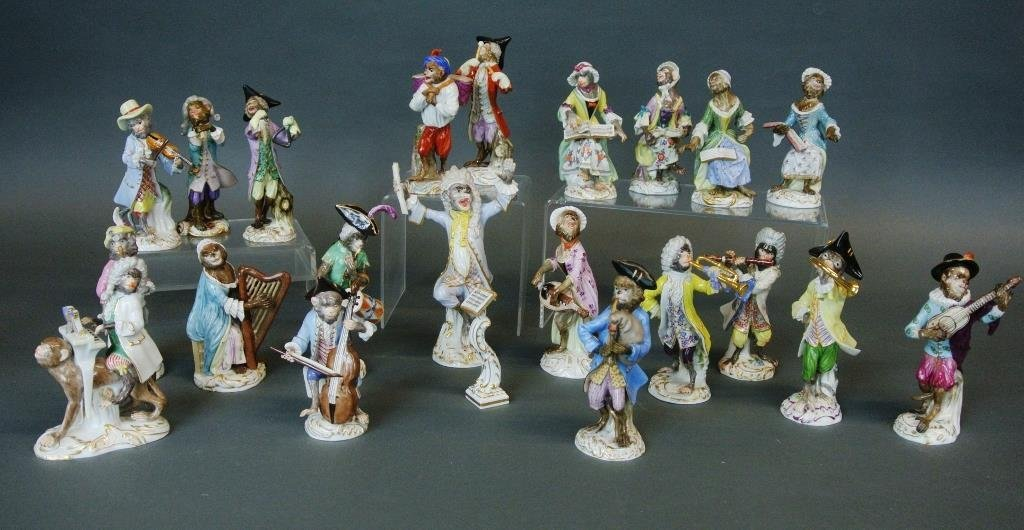 Complete Meissen Porcelain Monkey Band