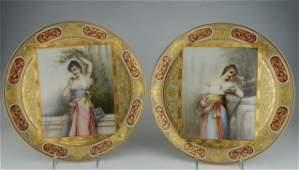 Pair of Royal Vienna Artist Signed Chargers