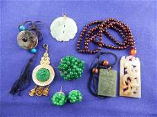 Chinese Jade  Stone Carved Pendants and Earrings