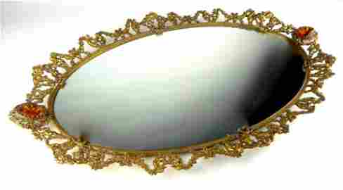 French Gilt Bronze Mirrored Plateau