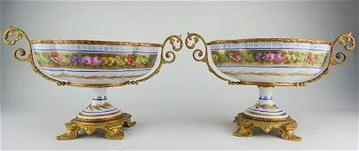 Pair of Sevres Centerpieces Mounted in Gilt Bronze