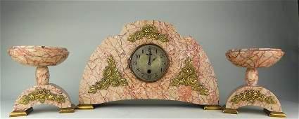 Art Deco Pink Marble  Gilt Bronze Clock Set