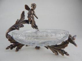 Figural Silver Plate & Cut Crystal Centerpiece