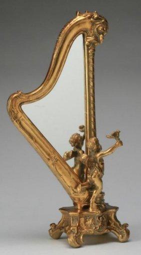 Antique Italian Giltwood Figural Mirror