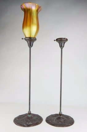 Pair of Tiffany Bronze Candle Lamps w/ Shade