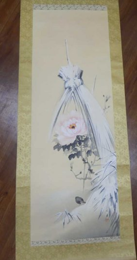 Old Hand Painted Scroll In Wooden Box