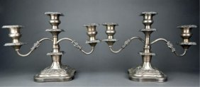 Pair Of Decorative Silver On Copper Candelabra
