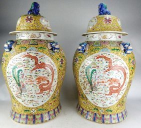 Pair Of Large Chinese Porcelain Famille Jaune Jars