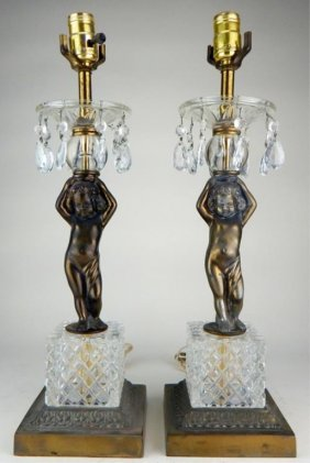 Pair Of Baccarat Style Figural Lamps W/ Crystals