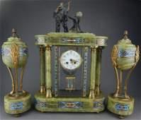 French Champleve Enamel  Onyx Clock Set