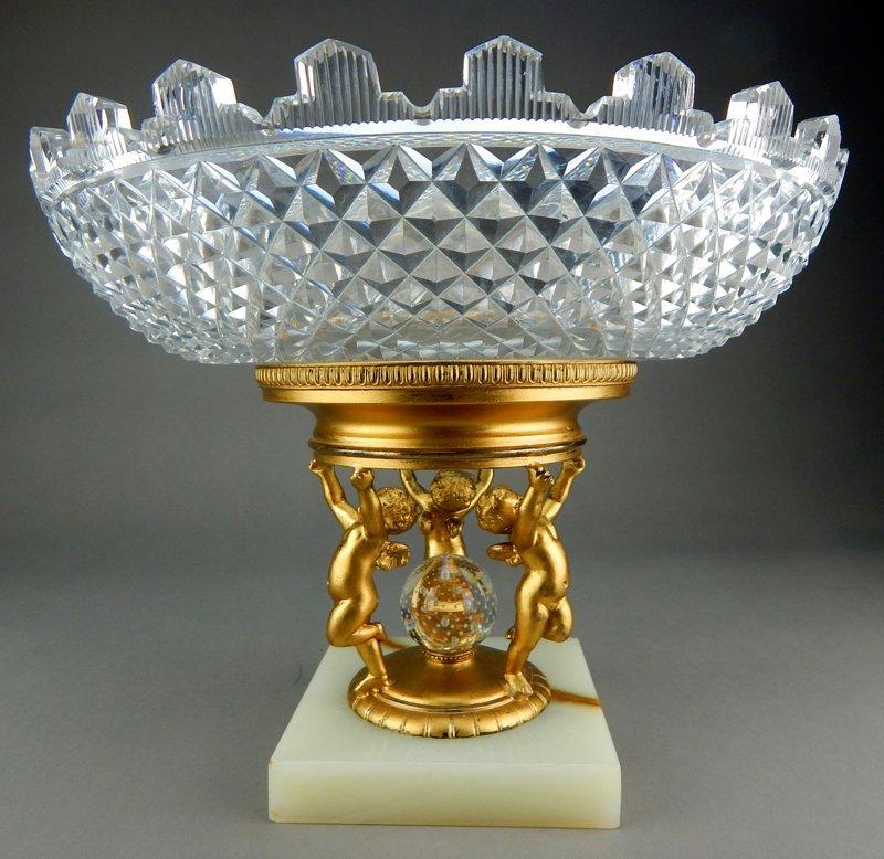 Cut Crystal & Dore Bronze Centerpiece