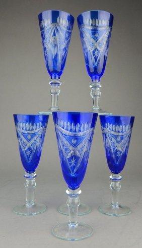 Set Of 6 Bohemian Cobalt Crystal Stemware