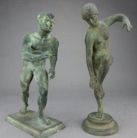 Two Roman Style Bronze Figures