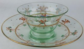 Set Six Enameled Venetian Glass Finger Bowls & Plates
