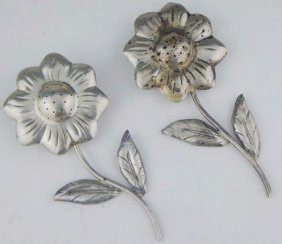 Mexican Sterling Silver Flower Salt And Pepper Shakers