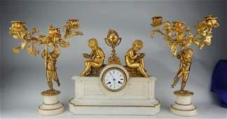 Gilt Bronze  White Marble Clock W Two Candelabra