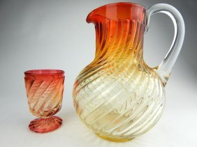 "Baccarat Glass ""rose Tiente"" Pitcher And Cup"