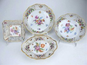 Four Porcelain Dresden Reticulated Dishes
