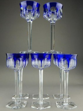Eight Baccarat Cobalt To Clear Crystal Stemware