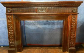 Carved Mahogany Fireplace Surround / Mantel