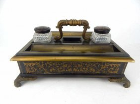 French Boulle Inkwell W/ Crystal Inserts