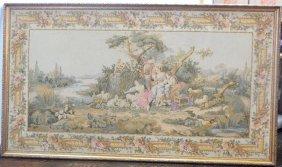 Large Carved Giltwood Framed Tapestry