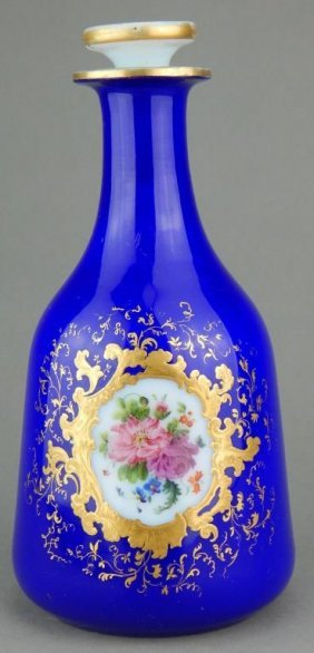 Baccarat Opaline Cobalt Blue Bottle with Stopper